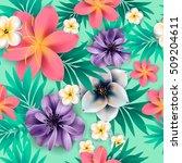 tropical flower  blossom... | Shutterstock .eps vector #509204611