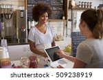 customer at counter of coffee... | Shutterstock . vector #509238919
