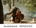 elephant and man hometown ... | Shutterstock . vector #509261425