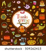 thanksgiving food doodles and... | Shutterstock .eps vector #509262415