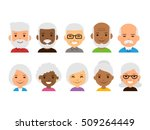 old people cartoon avatars set. ...