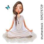 cute cartoon yoga girl | Shutterstock . vector #509275729
