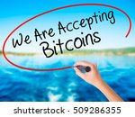 Small photo of Woman Hand Writing We Are Accepting Bitcoins on blank transparent board with a marker isolated over water background. Business concept. Stock Photo