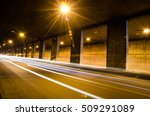 tunnel with moving lights | Shutterstock . vector #509291089