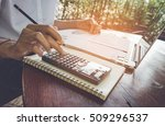 business woman calculate and... | Shutterstock . vector #509296537