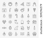 line christmas icons set.... | Shutterstock .eps vector #509296579