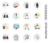 job search icons set. flat... | Shutterstock . vector #509305351