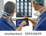 woman doctor reviewing xrays...   Shutterstock . vector #509318659