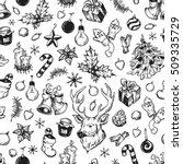 hand drawn winter pattern.... | Shutterstock .eps vector #509335729
