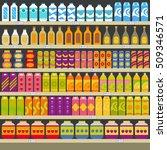 supermarket shelves with... | Shutterstock .eps vector #509346571