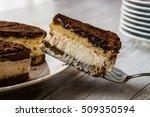 homemade tiramisu cake on a... | Shutterstock . vector #509350594