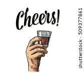 male hand holding a glass with...   Shutterstock .eps vector #509377861