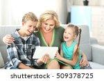 grandmother and grandchildren... | Shutterstock . vector #509378725