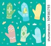 winter gloves on a green... | Shutterstock .eps vector #509381755