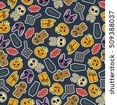 seamless halloween flat design. ...   Shutterstock . vector #509388037