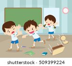 angry boy hitting him friend... | Shutterstock .eps vector #509399224