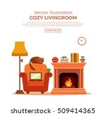 Colorful Vector Cozy Fireplace...
