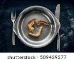 three crust of bread in metal... | Shutterstock . vector #509439277