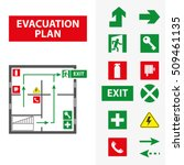signs for the evacuation plan... | Shutterstock .eps vector #509461135