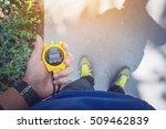 hand holding digital... | Shutterstock . vector #509462839