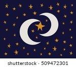 moon and stars on dark blue... | Shutterstock .eps vector #509472301