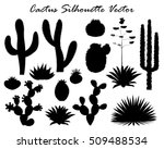 black silhouettes of cactus ... | Shutterstock .eps vector #509488534