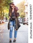 beautiful brunette fashion... | Shutterstock . vector #509490997
