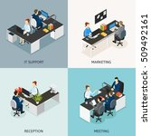 four square colored office... | Shutterstock .eps vector #509492161