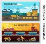 two mining industry horizontal... | Shutterstock .eps vector #509492209