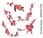 branches of pink blossoming... | Shutterstock . vector #509497159