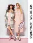 fashionable two women in coat... | Shutterstock . vector #509503135