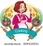 mother teaches to cook. the... | Shutterstock .eps vector #509510551