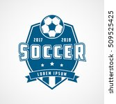 soccer emblem blue flat icon on ... | Shutterstock .eps vector #509525425