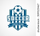 soccer emblem blue flat icon on ... | Shutterstock .eps vector #509525467