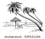 ocean or sea beach with palms ... | Shutterstock .eps vector #509531104