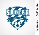 soccer emblem blue flat icon on ... | Shutterstock .eps vector #509534344