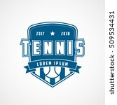 tennis emblem blue flat icon on ... | Shutterstock .eps vector #509534431