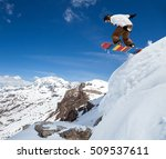 jumping snowboarder keeps one... | Shutterstock . vector #509537611