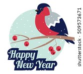 new year bullfinch and new year ... | Shutterstock .eps vector #509573671