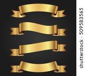 set of golden ribbons on dark...   Shutterstock .eps vector #509583565