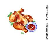 watercolor chicken fried on a... | Shutterstock . vector #509588251