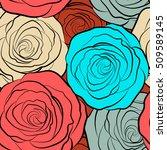 vintage watercolor roses. hand... | Shutterstock .eps vector #509589145