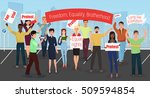 protest people with placards... | Shutterstock .eps vector #509594854