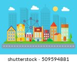 urban and village landscape.... | Shutterstock .eps vector #509594881
