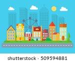 urban and village landscape.... | Shutterstock .eps vector #509594881