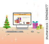 decorated workplace computer... | Shutterstock .eps vector #509606077