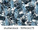 Blue Dark Floral Pattern Leave...