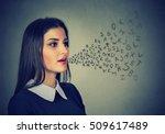 woman talking with alphabet... | Shutterstock . vector #509617489