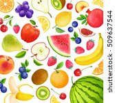 colorful background with fruits ... | Shutterstock . vector #509637544