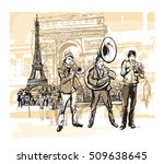 musicians in front of eiffel...   Shutterstock .eps vector #509638645
